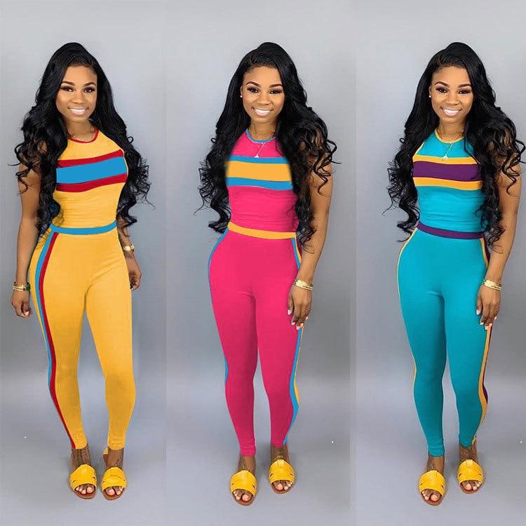 2019 Women Summer Patchwork Tank Tee Top Skinny Pencil Pants Suit 2pcs Set Sporting Tracksuit Active Wear Outfit 3 Color M6161