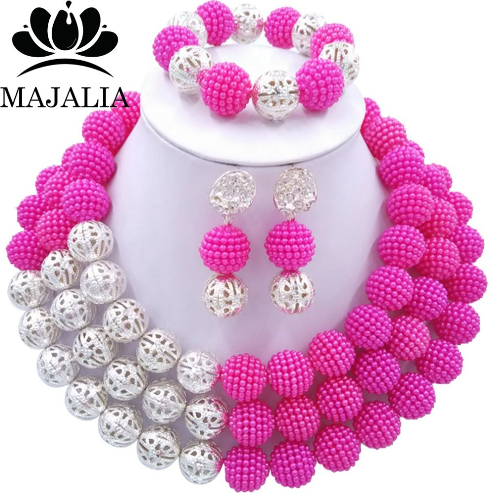 Majalia Fashion Nigerian Wedding African Jewelery Set Hot pink Crystal Plastic Pearl Necklace Bride Jewelry Sets 3SQ013