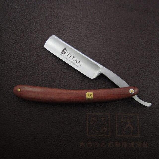 Frete grátis Titan já navalha afiada lâmina de aço cabo de madeira em linha reta