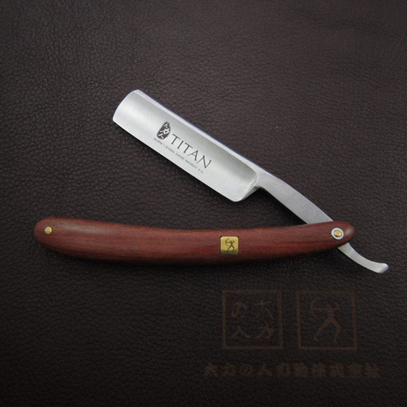 free shipping Titan wood handle  straight razor steel blade sharp already