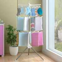 New Solid Folding Transportable Laundry Stand Drying Rack 2 Tier Tripod Clothes Hanger Towel Holder