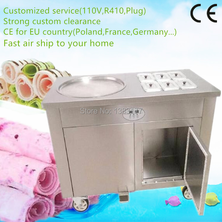 Free air ship 50cm Commercial Thailand Fried Ice Cream Roll Machine Ice Pan Machine with 6 cooling buckets and refrigerator цена и фото