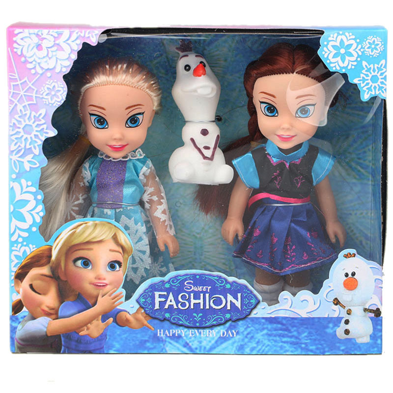 Disney 15cm Frozen Princess Elsa Anna Doll Ice And Snow