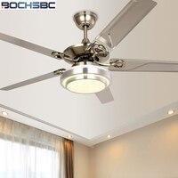 BOCHSBC Stainless Steel Leaf Ceiling Fan Light LED Dimming Fan European Simple Ceiling Fan Modern Fan Light Mute Province