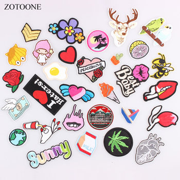ZOTOONE Flower Animal Heart Letter Food Cartoon Patch Iron on Badge Patches Embroidered Applique Sewing Clothes Patch Stickers B image