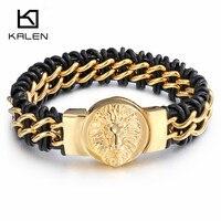 Kalen Dubai Goud Kleur Kettingen Armbanden Voor Mannen Rvs Rock Leeuwenkop Charm Armbanden Magnetische Wrap Armband Jewel