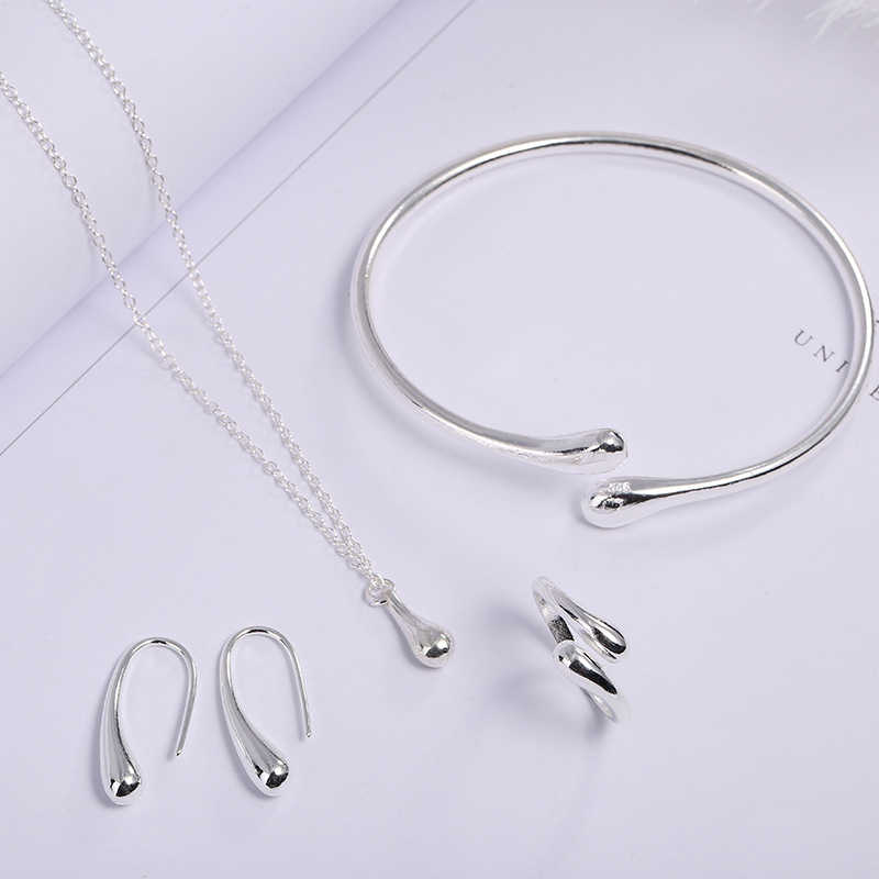 Wedding Costume Jewelry Fashion Silver Waterdrop Necklace Cuff Bangles Rings Earrings Jewelry Set Female Elegant Party Gifts