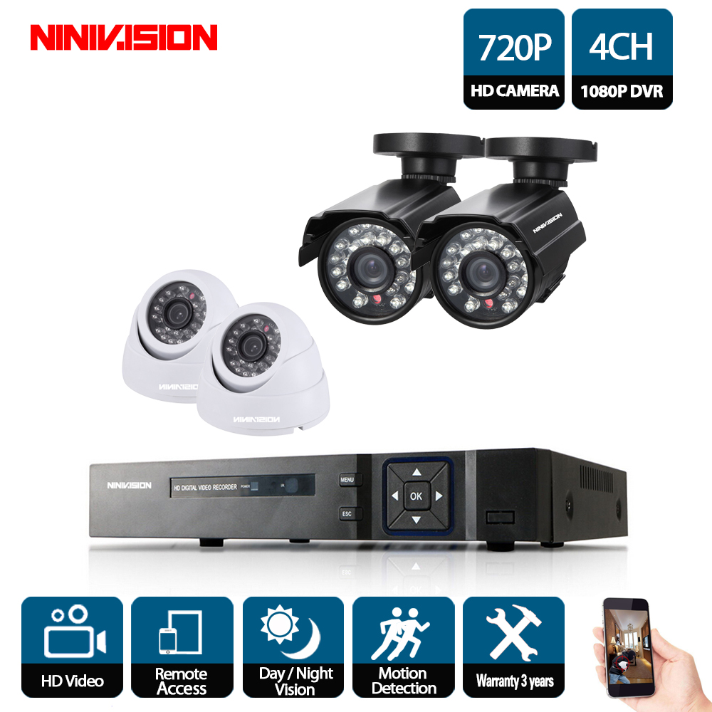 NINIVISION 720P CCTV System 4CH Video Surveillance Kit for home 1080P HDMI DVR 4PCS 2000TVL 720P indoor outdoor Security CameraNINIVISION 720P CCTV System 4CH Video Surveillance Kit for home 1080P HDMI DVR 4PCS 2000TVL 720P indoor outdoor Security Camera