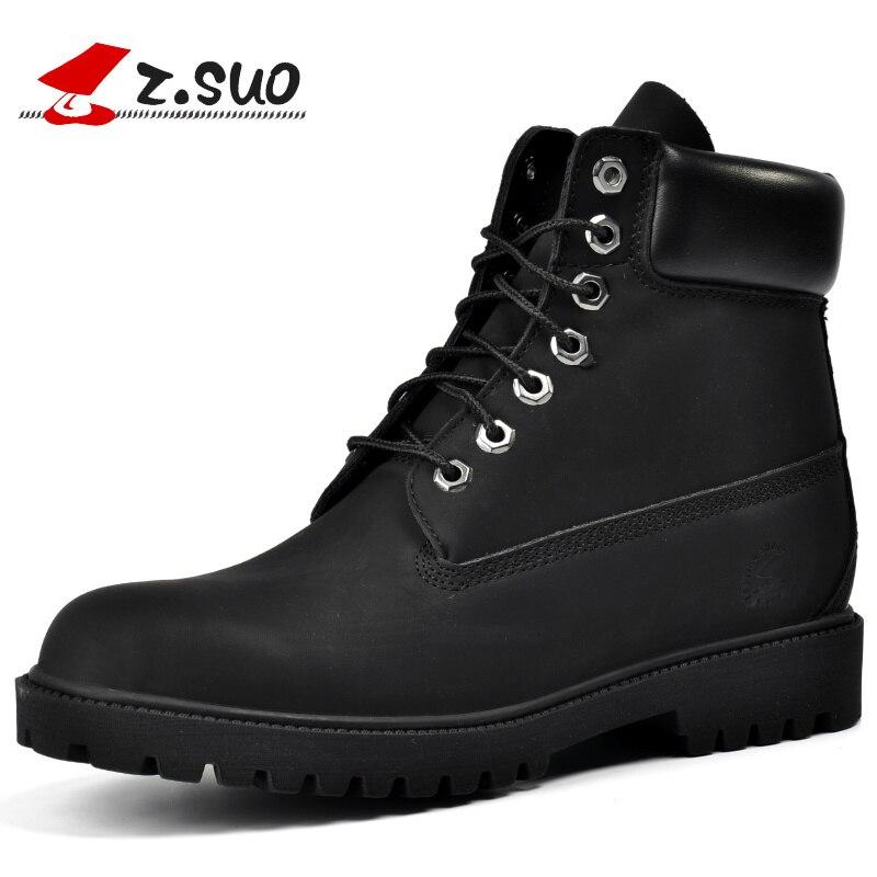 ZSUO ยี่ห้อ Big ขนาด: 39 45 สีดำรองเท้าบุรุษรองเท้าหนัง PU รองเท้าผู้ชาย Botas Hombre Bota Masculina Lace Up ข้อเท้ารองเท้าผู้ชาย 45-ใน รองเท้าบูทแบบเบสิก จาก รองเท้า บน   2