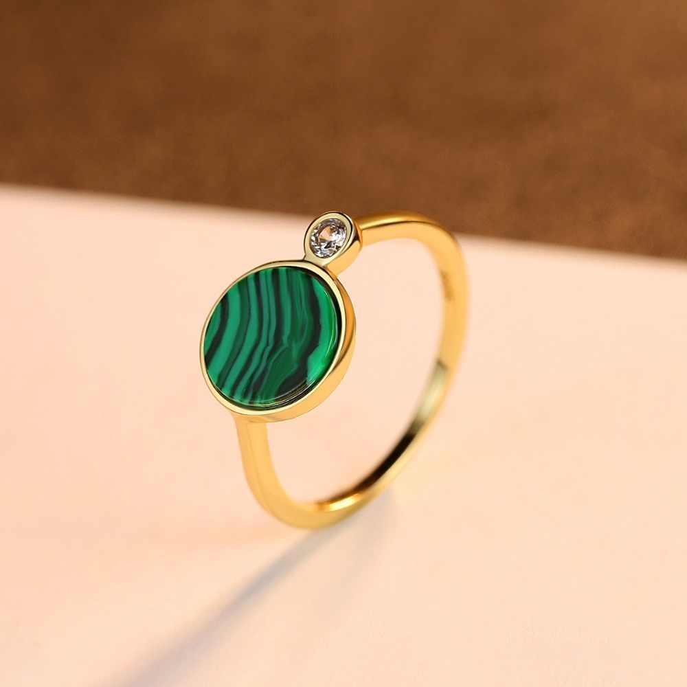 CZCITY 925 เงินสเตอร์ลิงรอบ Malachite แหวนสำหรับงานแต่งงานของผู้หญิงหรูหรา CZ 18k สีเขียวโรแมนติกเครื่องประดับหญิงของขวัญ