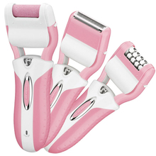 3 in 1 Electric Epilator+Shaver+Dead Skin Callous Roller For Lady Rechargeable Shaver 3pcs Head Pink/Blue