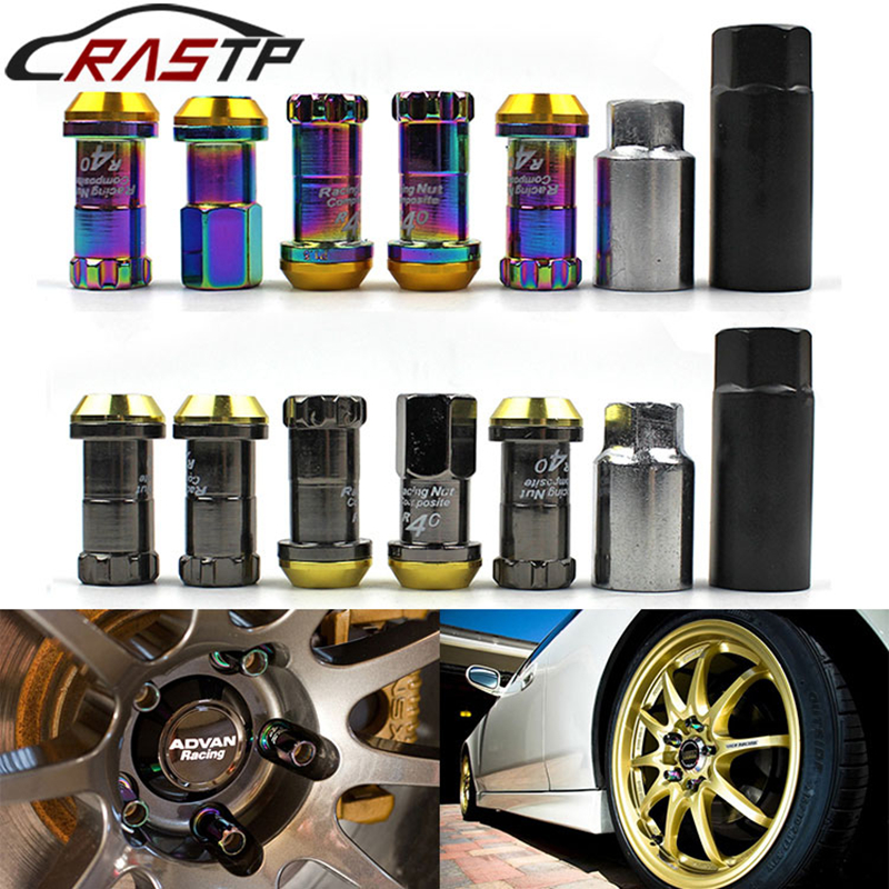 RASTP-Project Kics Racing Composite R40 Neo Titanium Chrome Steel Lock Anti Theft Wheel Lug Nuts M12x1.5 or M12x1.25 RS-LN003