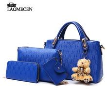 4 PCS Set New Famous Brand European And American Bear women Embossed Big Handbag Shoulder Bag