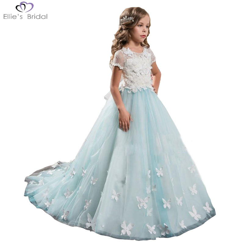 Ellies Bridal 2018 New Girl Summer Princess Dress Butterfly Flower Lace Dress for Party Birthday Wedding Children Clothing 2-13T ellies bridal new beading princess party tulle ball gown flower girl dress patterns ruffles sash wedding dress for kids children
