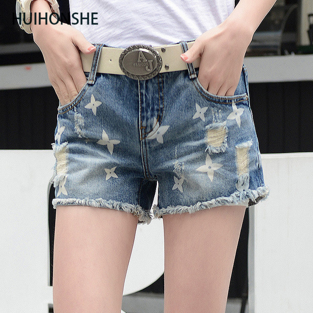 e40ed5a6e2 Huihonshe verano moda mujer casual skinny Denim Pantalones cortos agujero  blanco negro rosado cintura baja sexy