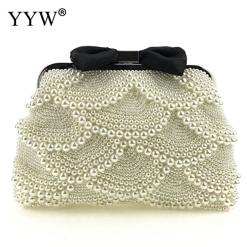 Luxury Pearl Clutch Bags Women Purse Diamond Chain White Evening Bags For Party Wedding Black With String Beads FemininaLuxury Pearl Clutch Bags Women Purse Diamond Chain White Evening Bags For Party Wedding Black With String Beads Feminina