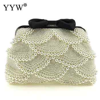 Luxury Pearl Clutch Bags Women Purse Diamond Chain White Evening Bags For Party Wedding Black With String Beads Feminina - DISCOUNT ITEM  26% OFF Luggage & Bags