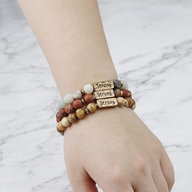 Ethnic Lover 8mm Word Distance Beaded Yoga Bracelet &Bangles Natural Stone Stretch Charms Bracelets Men Women Prayer Jewelry