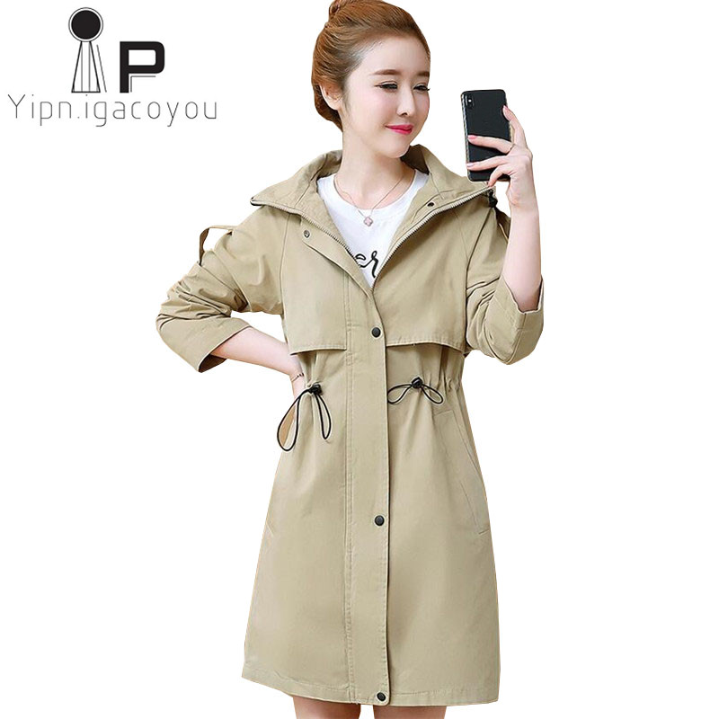 Red Hooded Long Women   Trench   Coat Spring Autumn Plus size High Quality Fashion Windbreaker Women Outwear Casual Ladies Coats XXL