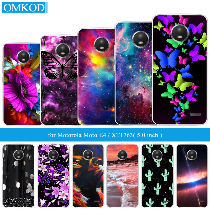 "Fashion Phone Cases 5.0"" For Moto E 4 XT1766 XT1763 Back Cover Soft Tpu Butterfly Fundas Clear Silicone DIY For Motorola Moto E4"