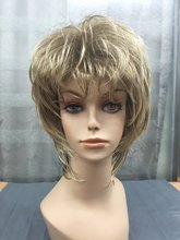 New super blonde mix and light brown layered wavy women synthetic full wig Free shipping
