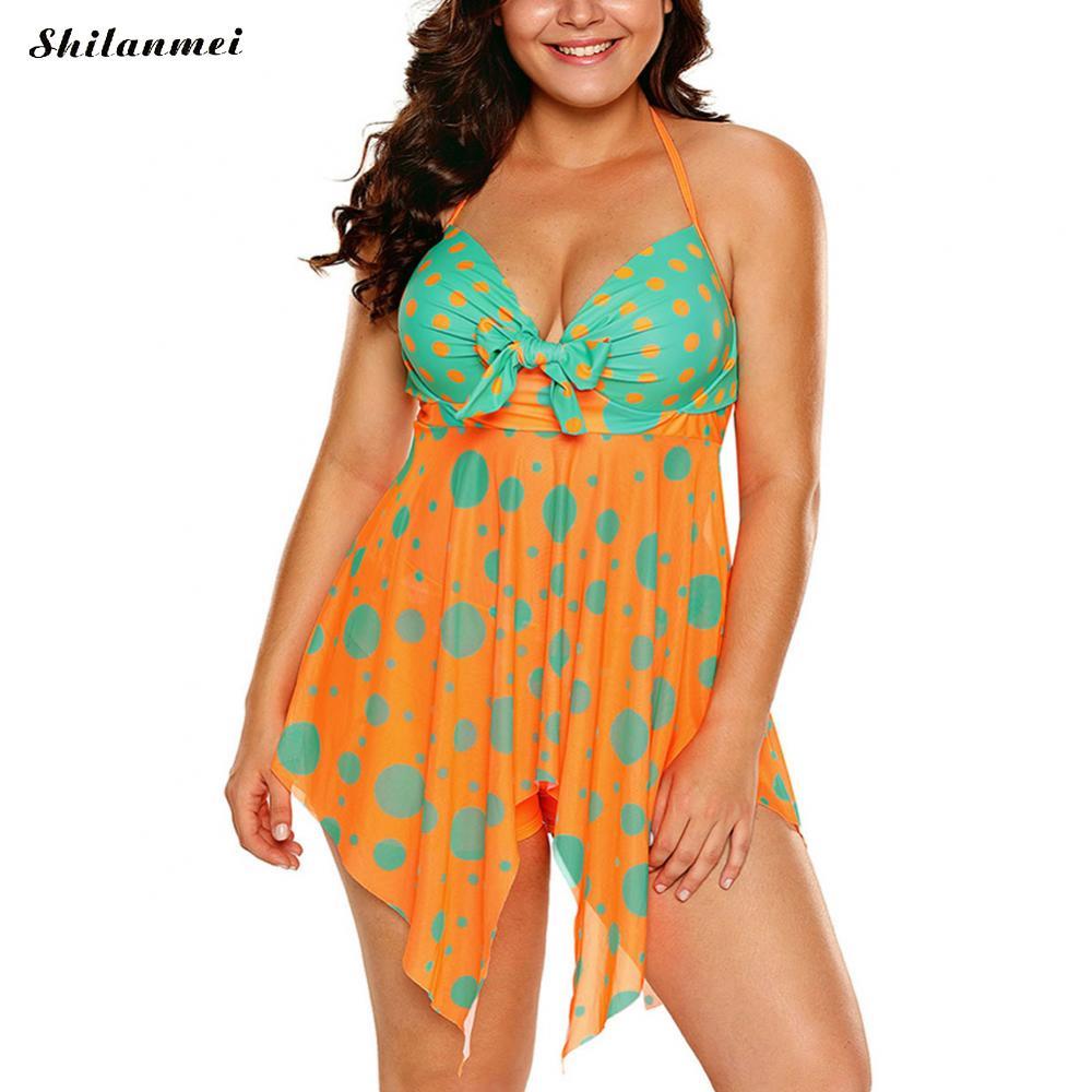 Orange Imprimé Femmes Maillots De Bain Dot Dos Nu Push Up Maillot de bain Deux Pièces 2017 Grande Taille Tankini Femme