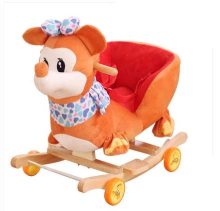 Kingtoy Plush Baby Rocking Chair Children Wood Swing Seat Kids Outdoor Ride on Rocking Cradle Toy