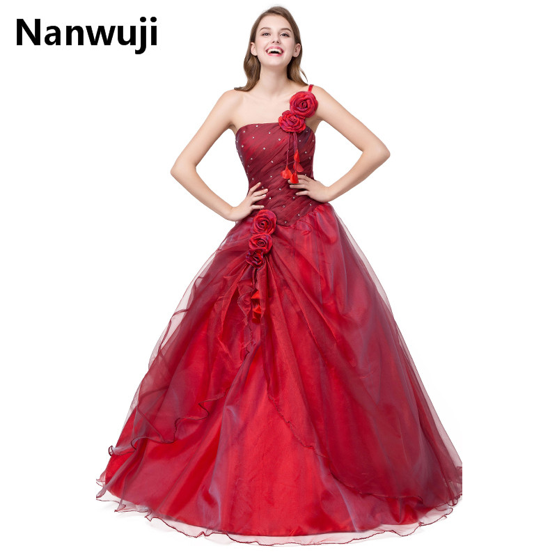 Quinceanera Dress 15 Years Old Dresses Birthday Ball Gowns One Shoulder Strapless Floor Length Appliques Hand Made Flower Beads