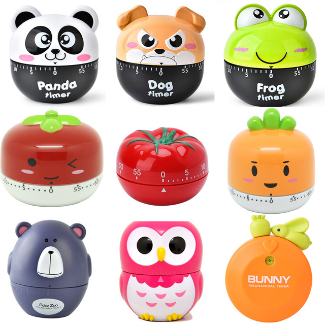 Cartoon Animal Vegetable Shape 60 Minute Timer Easy Operate Kitchen Timer Cooking Baking Helper Kitchen Tools Home Decoration