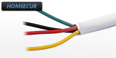 HOMSECUR White Flexible Copper 20m 4 Core Cable For Video Door Intercom System