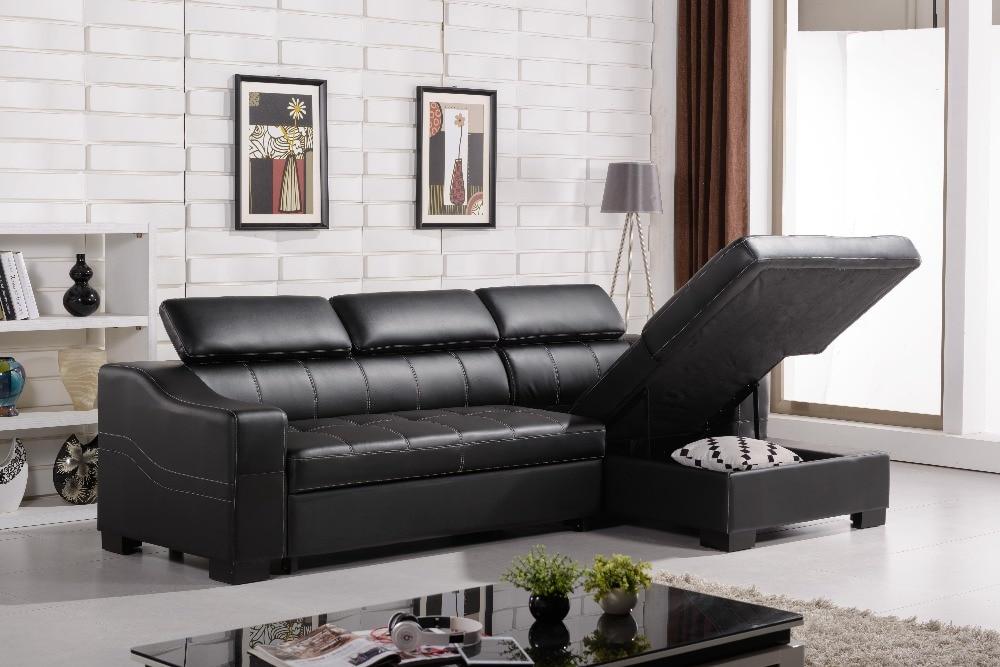 Black Leather L Shaped Sofa Bed Centerfieldbarcom