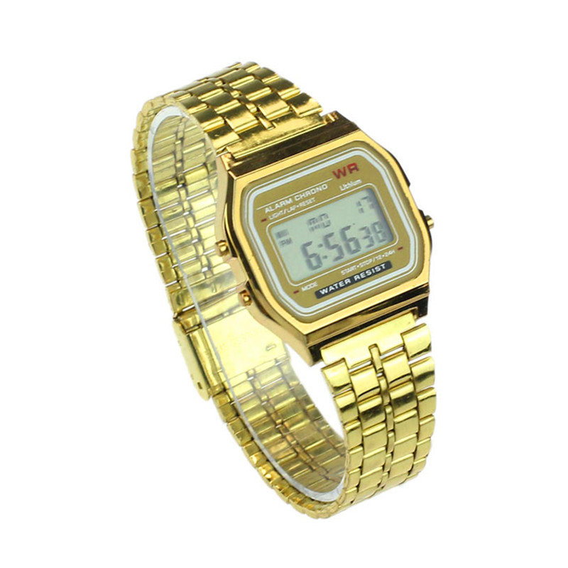 Womens Men Dress Watch Business Watches Golden Watch Coperation Vintage Stainless Steel Digital Alarm Stopwatch Wrist Watch 2019