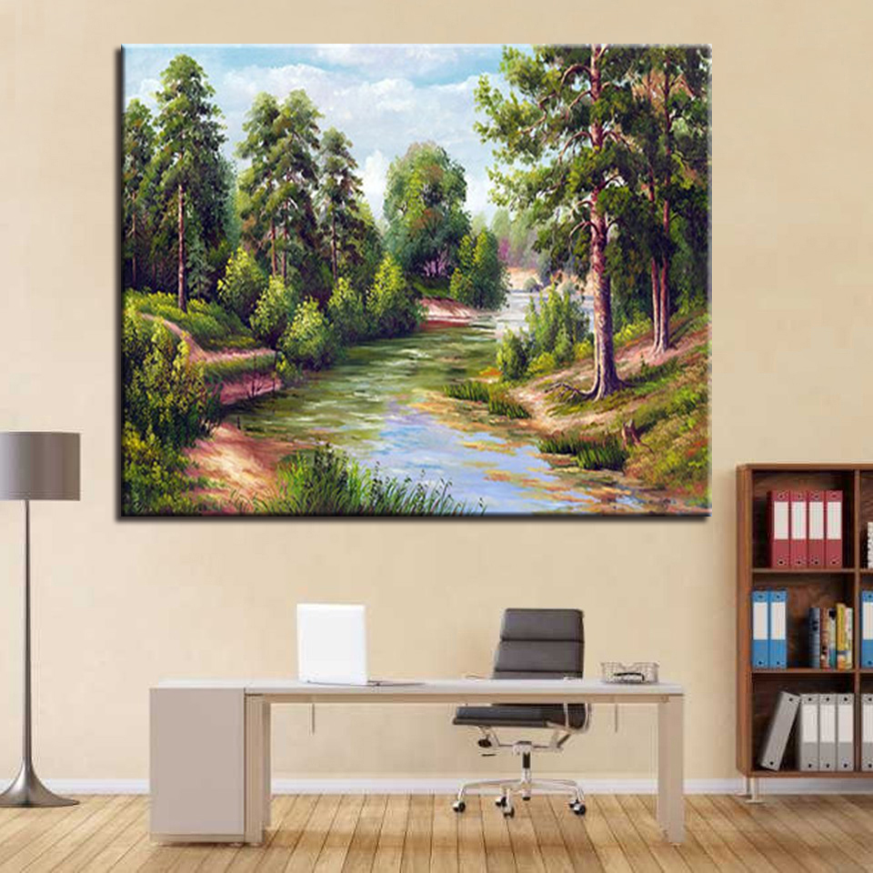 DIY Wall Artwork Painting Acrylic On Canvas Kits Drawing Forest River Landscape By Numbers Framework Wedding Decoration Picture ...