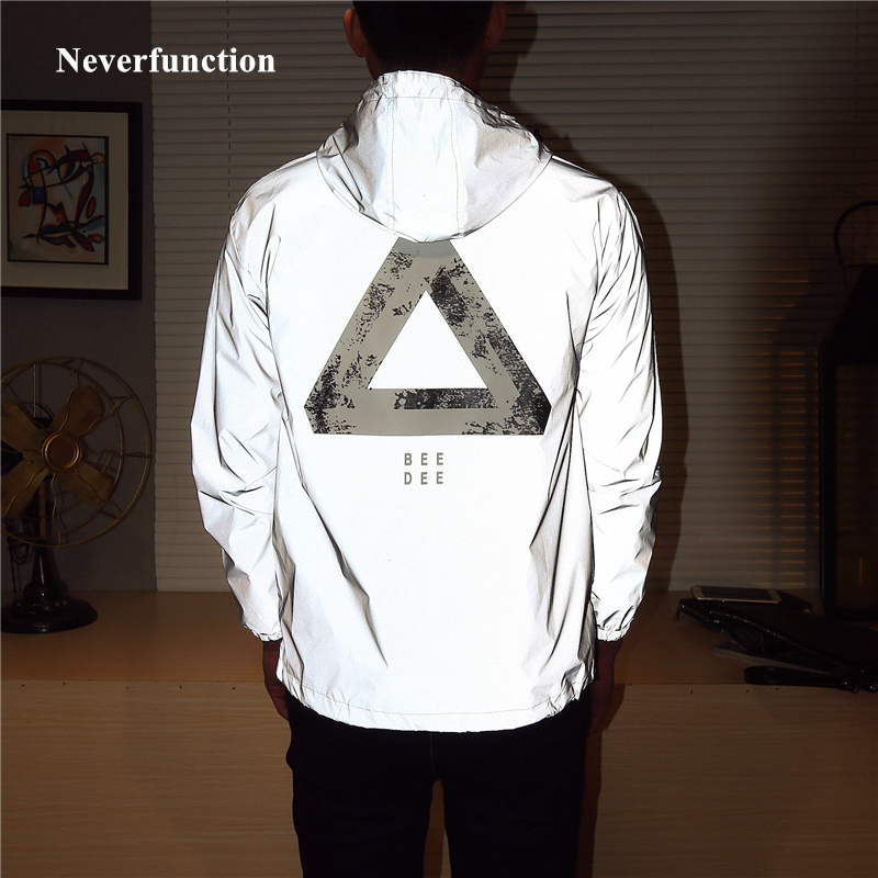 Men Spring New full 3M reflective Windbreaker Jacket male Streetwear hip hop printed Loose Hooded Coats fluorescent clothing