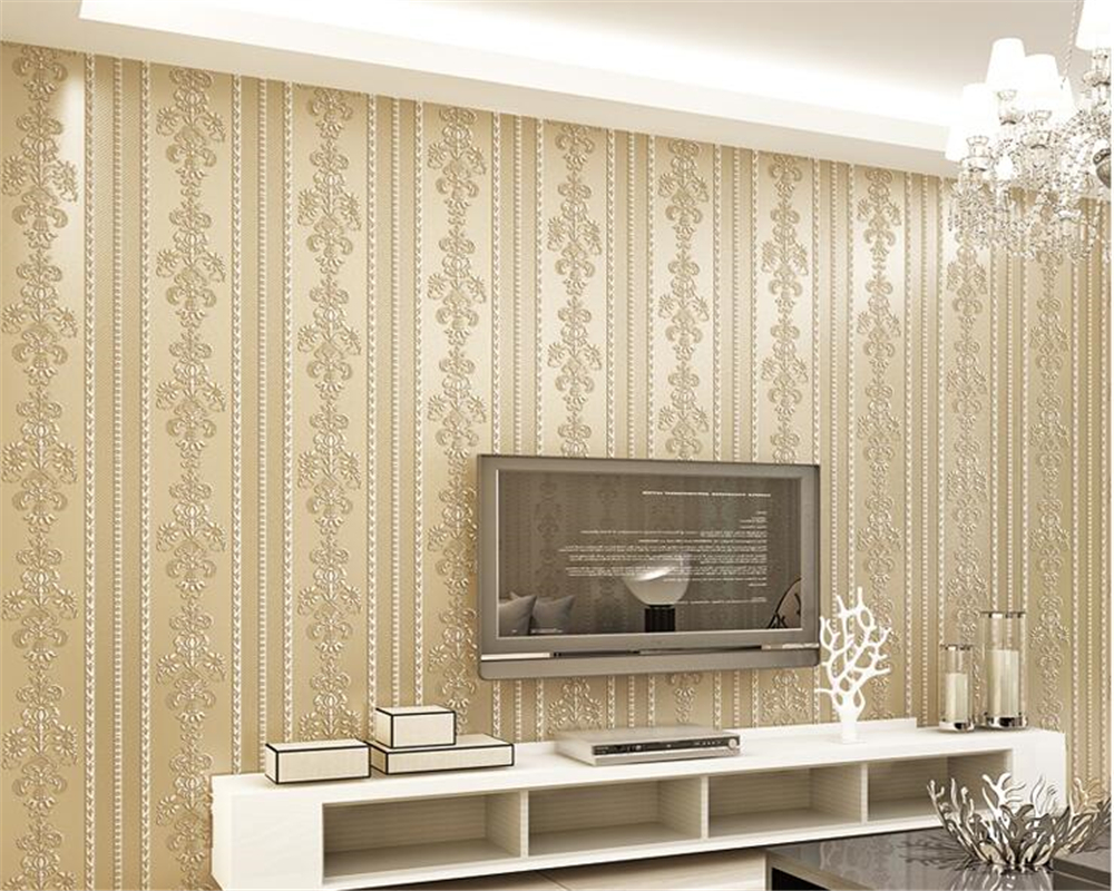 beibehang Modern warm and simple non-woven 3d wallpaper stereo vertical stripes classic bedroom background wall papel de parede beibehang papel de parede shop for imported non woven mediterranean vertical stripes wallpaper bedroom living room small fresh