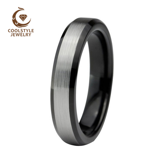 4mm Black Tungsten Carbide Wedding Band For Womens Beveled Edges Silver Brushed Finish Comfort Fit