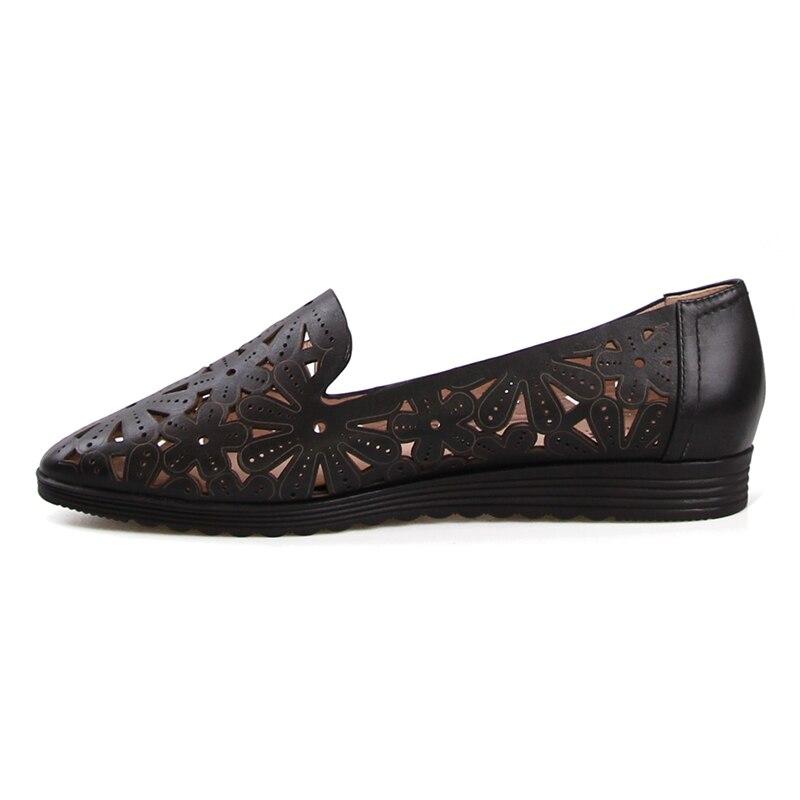 Femelle Découpe Plate Chaussures Vache Casual Glissement 2018 Cuir Appartements Semelle Mode Sur Brown En Bout Automne Wetkiss Nouvelle Femmes Rond NwPXnk80O