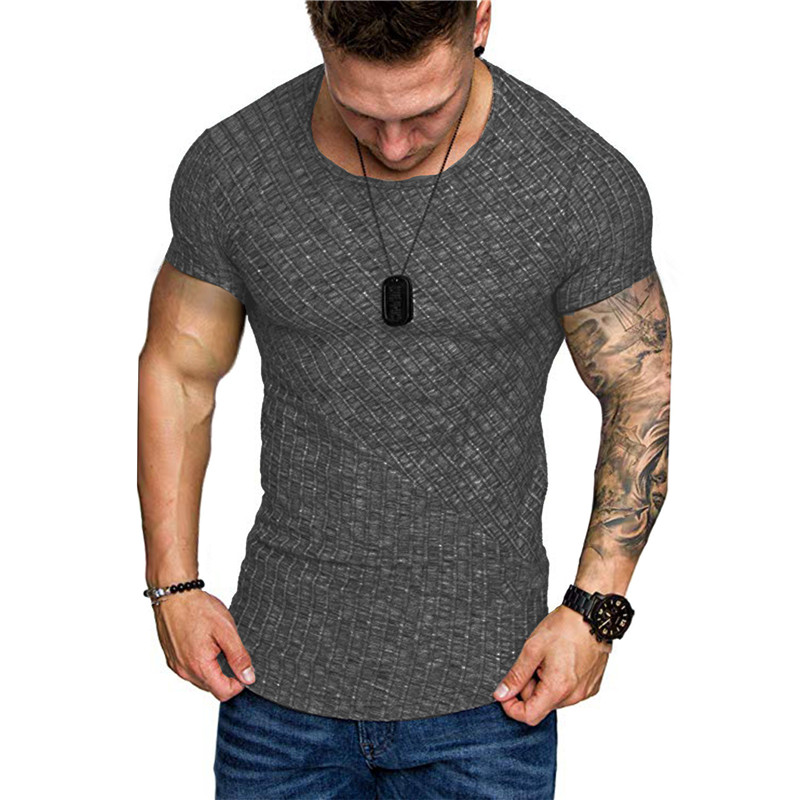 2019 Brand Men Bodybuilding T-shirts Autumn O-Neck Short Sleeve Tshirts Male Fashion Casual Fitness Tops Plus Size Slim Top Tees