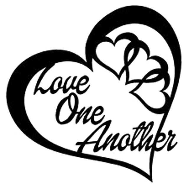 15cm15cm Love One Another Heart Vinyl Decal Sticker Car Wall Peace
