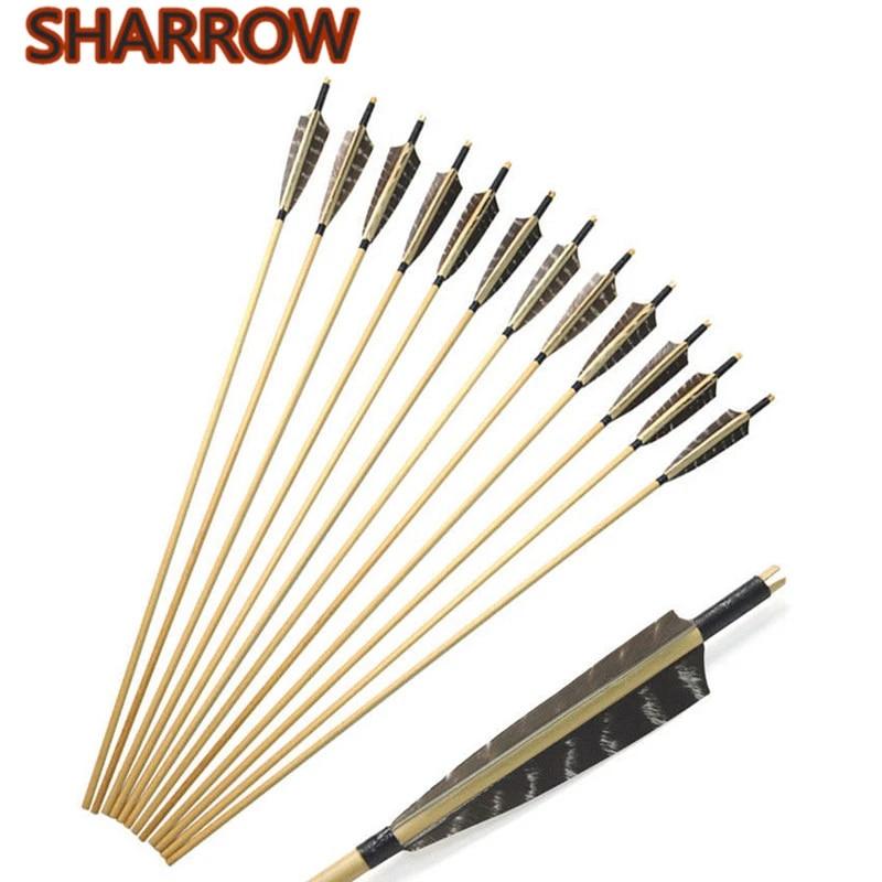 "31/"" Traditional Archery Wooden Arrow Handmade 5/'/' Turkey Feather Recurvebow Hunt"