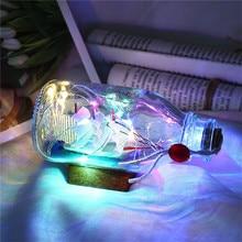 Illuminated Sailing Boat Box Copper Wire Light Wood Base Drifting Home decoration led garland bottle light