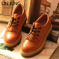 LIN KING Womens Flats Round Toe Patent Leather Platform Shoes Oxford Lace up Derby Shoes Tassels Flat Brogue Shoes Zapatos Mujer