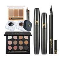7Pcs Professional Eye Makeup Set Eyeshadow Eyebrow Palette Cream Eyeliner Mascara Eyeliner Pencil Cosmetic Tools