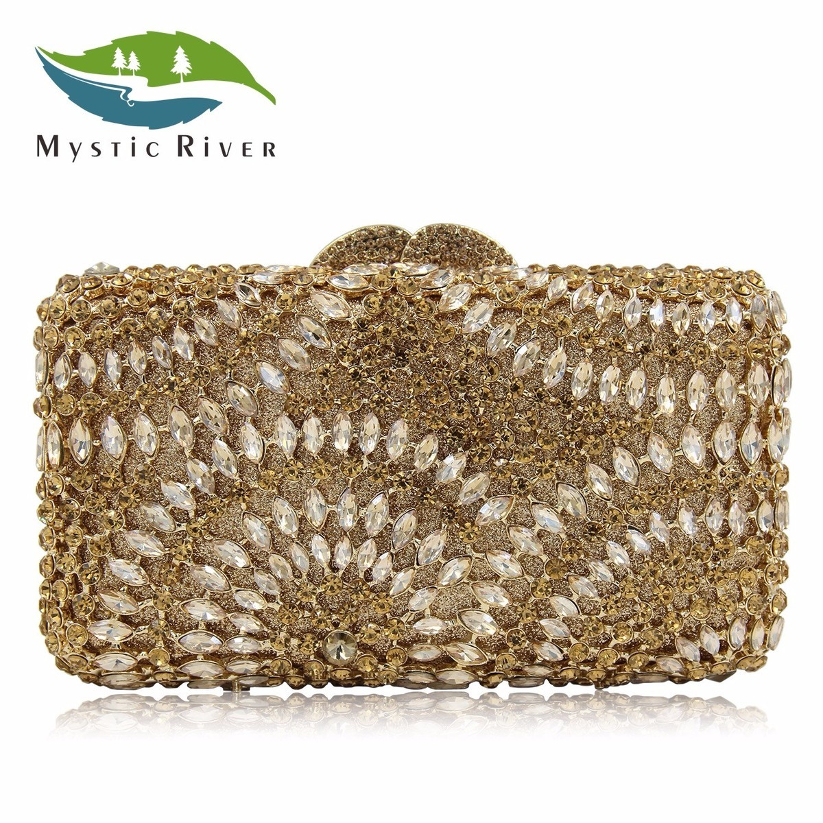 Mystic River Evening Bags Luxury Diamond Crystal Clutches Women Bag Mini Party Clutch Wedding Purse Dark Gold the dark river
