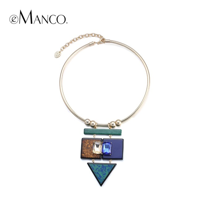 eManco Geometric stone pendant chocker necklaces crystal resin concise torques collar necklace engagement handmade jewelry