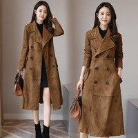 Jacket femaleautumn and winter new imitation deerskin velvet coat long section fashion women's windbreaker over the knee coat
