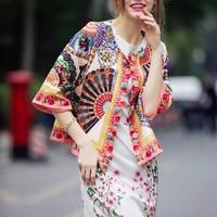 Top Fashion Women S Elegant Designing Spring Autumn Runway Short Coat Beading Flower Printed Loose Coats