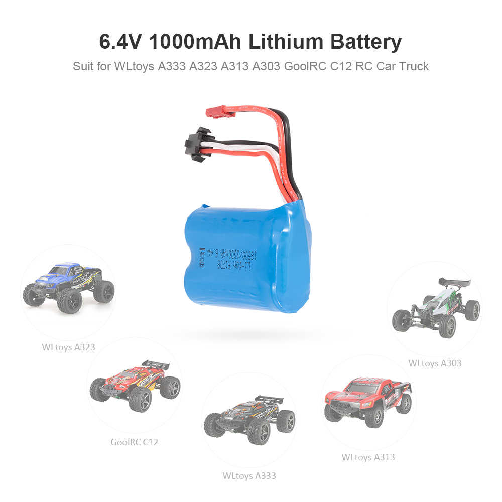 Для WLtoys 6,4 V 1000 mAh литий-Батарея для WLtoys A333 A323 A313 A303 набор C12 RC автомобиль Monster Truck