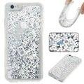 Saco do telefone móvel para casos de telefone iphone 6 s/6 4.7 polegada fluido flutuante glittery lantejoulas tpu soft case para iphone 6 s celular Shell