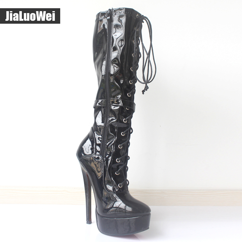 jialuowei Fashion Sexy Knee-High Women Patent Leather Cross-tied Platform Boots Pointed Toe 7 Extreme High Heel Thin High Boots jialuowei women sexy fashion shoes lace up knee high thin high heel platform thigh high boots pointed stiletto zip leather boots